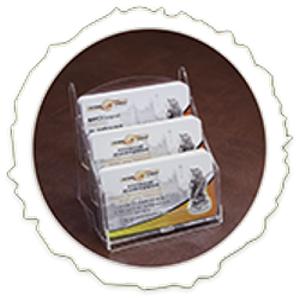 Настольная 3-х ярусная подставкад для визиток            из жесткого пластика